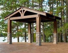 rustic pergola with metal roof or cedar shakes? & stone
