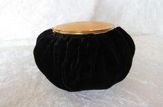 Vintage Black Velvet & Gold Tone Evening Bag by EMStreasureseekers, $99.00