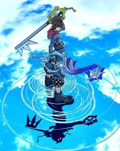 Image may contain: cloud and sky Kingdom Hearts Wallpaper, Kingdom Hearts Fanart, Disney Kingdom Hearts, Kingdom Hearts Keyblade, Sora And Kairi, Sora Kh, Kindom Hearts, Video Game Art, Anime Comics
