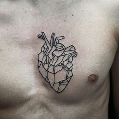 Geometric Heart on inner left bicep, geometric brain on inner right bicep