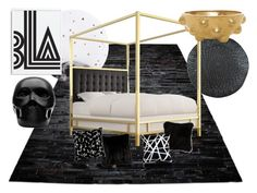 """""""Black Bedroom"""" by immar on Polyvore featuring interior, interiors, interior design, home, home decor, interior decorating, Lollipop, Beekman 1802, Gio Pagani and Kelly Wearstler"""