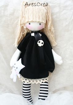 Nicole Large #handmade #doll with #cat and #skull by AresCrea Please come and visit my FB page. Thank you!! <3