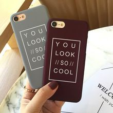 SZYHOME Phone Cases For iPhone 5 5S SE 6 6s 7 Plus Case Gray Letter Simple Plastic For Apple iPhone 7 Mobile Phone Cover Case(China (Mainland))