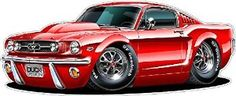 "1965 #Mustang GT Fastback 289 Cartoon Car Wall Graphic 24"" x 48"" 4Ft Long Decal Sticker Man Cave Garage Decor Boys Room Decor  Brand New Custom Printed Wall Graphic Multiple Colors and Variations"