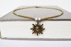 Summer Sun Necklace Beach Necklace Sun Sol Collar by LOVEnLAVISH, $24.00