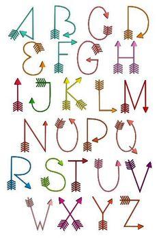 Geometric alphabet - Fonts - Ideas of Fonts - Arrows font machine embroidery design. Alphabet Design, Hand Lettering Alphabet, Doodle Lettering, Lettering Styles, Doodle Fonts, Pretty Fonts Alphabet, Cute Fonts Alphabet, Bullet Journal Fonts Hand Lettering, Cool Letter Fonts