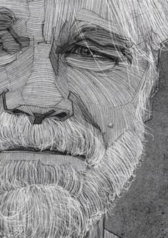 Philip Seymour Hoffman Portrait, Charcoal Line Drawing, Illustration