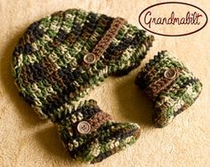 Pair of Crocheted Camo Army Boots for Baby Boy | best stuff
