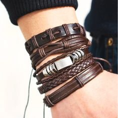 IF YOU Fashion Multiple Layers Brown Leather Bracelets Men Classic Rope Chain Charms Bracelet For Men Armband Jewelry Gifts Price history. Product ID: Braided Bracelets, Metal Bracelets, Bracelets For Men, Bangle Bracelets, Bracelet Men, Trendy Bracelets, Designer Mens Bracelets, Silver Bracelets, Leather Wristbands