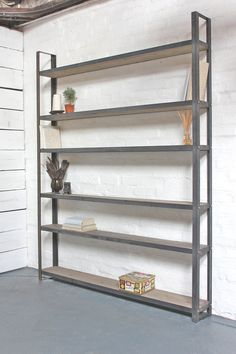Bespoke Reclaimed Scaffolding Boards and Dark Steel Framed Free Standing Shelves/Bookcase/Shelving - made to order industrial furniture