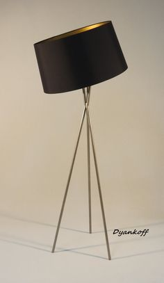 Handmade tripod floor lamp with light gray colored by DyankoffShop