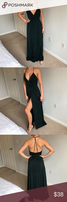 Forrest green maxi dress. . Open back, low front, tie at the waist, evening dress. WORN ONCE!! LIKE NEW!! Forever 21 Dresses Maxi