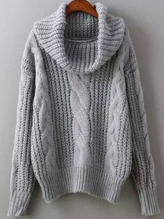 Grey High Neck Cable Knit Sweater