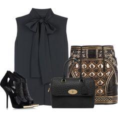 VB blouse, Balmain skirt, Giuseppe shoes Mulberry bag