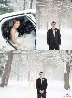 Bride & Groom First Look in the snow   © Matt Ramos Photography