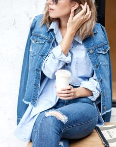 timeless jean jacket A DENIM JACKET You don't have to pair it with an entirely blue look, but it's not a bad idea.