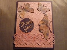 Thank you card with embossed background and alcohol ink butterflies.