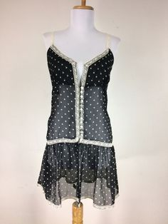 Semi Sheer Chiffon Blouse Black Beige Polkadots Lace Mini Dress Ruffles Boho #Unbranded #Blouse