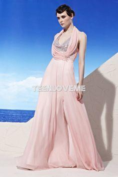 Pink Halter Evening Dresses Low V-neck Sequin Floor Length - Evening Dresses - Special Occasions