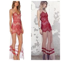 """For Love and Lemons Antigua Maxi NWT, this has been sitting in my closet unworn and it's time to let it go. Perfect Condition Beautiful red baroque lace overlay on sheer nude mesh and scalloped eyelash edges. This dress is so amazing with a mini plunge neckline, hidden back zipper, front single slit, and runs very long, approximately 62"""" long. NO TRADES, but offers welcome. For Love and Lemons Dresses"""