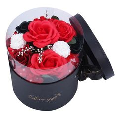Beautiful small red soap roses in a gift box - perfect as a gift or decoration. Creative Wedding Gifts, Creative Decor, Artificial Flower Arrangements, Artificial Flowers, Flowers Australia, Rose Soap, Luxury Soap, Flower Oil, Perth