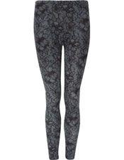 Lace Print Leggings - Black/Grey