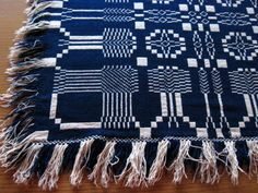 Antique BLUE & WHITE Double Woven COVERLET Snowflake Pattern PINE TREE BORDERS