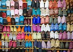 Shopping for shoes in Morocco is so much fun. You decide what style you like and then they pretty much have them in any color you can imagine. If they are leather, they are a little stiff at first, but they soon turn to butter. Genevieve Gorder, Retail Shop, World Best Photos, Shoe Rack, Moroccan, Storage, Tags, Leather, Shelving