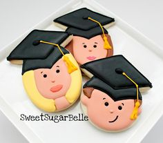 Cookies - graduation faces (using diamonds and circles/eggs)