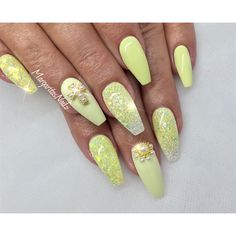 nails.quenalbertini: Pastel Yellow Coffin Nails by margaritasnailz |