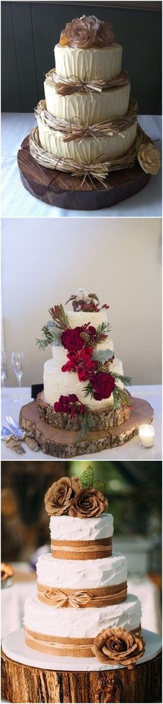 Country Weddings » 20 Rustic Tree Stumps Wedding Cakes for Your Country Wedding » ❤️ See more: http://www.weddinginclude.com/2017/06/rustic-tree-stumps-wedding-cakes-for-your-country-wedding/