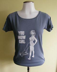 Bathing Beauty- You Mow Girl Womens Graphic Tee