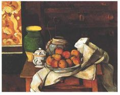 Vessels Fruit And Cloth In Front Of A Chest by Paul Cezanne - Reproduction Oil Painting Paul Cezanne, Oil Painting App, Still Life Oil Painting, Cezanne Still Life, Oil Painting Background, Painting Clouds, Paintings Famous, Oil Paintings, Large Canvas Art