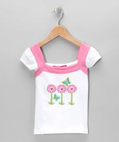 Take a look at this White & Pink Butterfly Cap-Sleeve Top - Infant, Toddler & Girls by Bamba Kids on #zulily today!