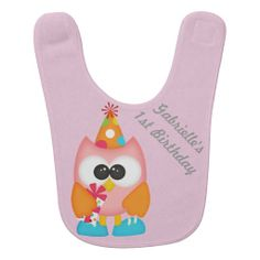 Baby's 1st Birthday Custom Name Retro Owl Bib