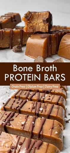 These Chocolate Chunk Bone Broth Protein Bars are a high protein, low sugar snack. They're no bake and made with almond flour, bone broth protein powder, almond butter and sweetened with monk fruit. Simply put, these paleo protein bars are perfect for a quick energy snack or on-the-go breakfast. #bonebroth #proteinbars #keto #paleo Paleo Bars, Low Carb Protein Bars, Protein Bar Recipes, High Protein Snacks, Healthy Dessert Recipes, Healthy Baking, Snack Recipes, Dairy Free Keto Recipes, Eggless Recipes