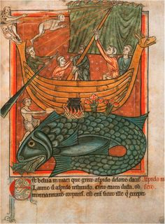 St Brendan, who sailed the Atlantic berthing his ship on a whale!