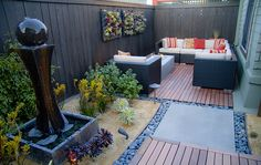 zen living by Eco Minded Solutions (San Diego, CA) Large Backyard Landscaping, Stone Landscaping, Backyard Privacy, Backyard Ideas, Garden Landscape Design, Small Garden Design, Small Space Gardening, Garden Spaces, Lounges