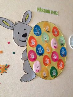 Mr bunny likes colored eggs Easter Activities For Kids, Bunny Crafts, Easter Crafts For Kids, Preschool Crafts, Easter Art, Easter Bunny, Diy And Crafts, Arts And Crafts, Paper Crafts