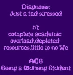 Nursing Student: Nursing Diagnosis  My life for the next two years....and so it begins again