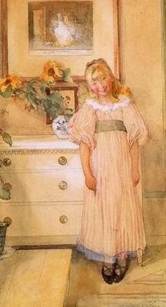 ⊰ Posing with Posies ⊱ paintings of women and flowers - Girl with Sunflowers - Carl Larsson