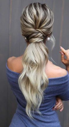 pony hairstyle, hair color trends long hairstyles ideas, wedding hairstyles, hair styles Hairstyles ponytail Most Stunning Ponytail Hairstyles Wedding Party Perfect Ideas Wedding Ponytail Hairstyles, Spring Hairstyles, Braided Hairstyles, Ponytail For Wedding, Date Night Hairstyles, Easy Hairstyles For Weddings, Wedding Pony Tail, Easy Long Hairstyles, Low Pony Hairstyles
