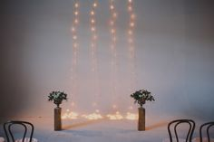 Studio space ceremony outdoor tea lights curtain backdrop. Modern Stylish Jersey City Winter Wedding at Parlay Studios NYC Brooklyn photographer Chellise Michael Photography Indie Hip