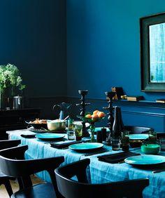 blue dining room photo by MichaelGraydon via Desire to Inspire