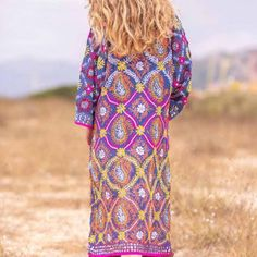 KIMONO JOYA B17 | TARIFA SOUL Ibiza Fashion, Cover Up, Bohemian, Dresses With Sleeves, Long Sleeve, Style, Templates, Vestidos, Sequins