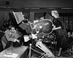 James Mason and Eva Marie Saint with VistaVision camera MVV-3 on the set of NORTH BY NORTHWEST (1959)