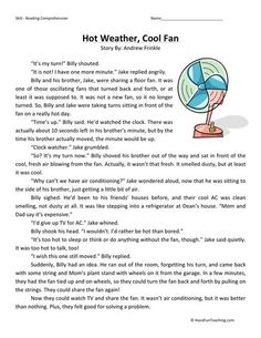 This Reading Comprehension Worksheet - Hot Weather, Cool Fan is for teaching reading comprehension. Use this reading comprehension story to teach reading comprehension. Best Picture For Reading Compre English Stories For Kids, Moral Stories For Kids, English Story, Reading Stories, Reading Passages, Reading Comprehension Worksheets, Comprehension Strategies, Reading Strategies, Reading Skills