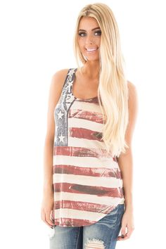 ef25fdcf9 Lime Lush Boutique - Vintage American Flag Print Tank with Crossed Back  Detail, $39.99 (