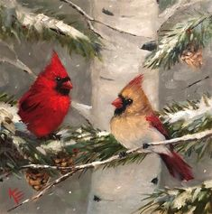 Krista Eaton Gallery of Original Fine Art Christmas Paintings, Christmas Art, Watercolor Animals, Watercolor Paintings, Watercolors, Bird Artwork, Winter Art, Tole Painting, Fine Art Gallery