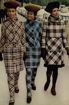 Glamour Editorial Thank Paris For Little Girls, October 1965 @ MyFDB Geeze,it looks like their dressed as plaid cats.